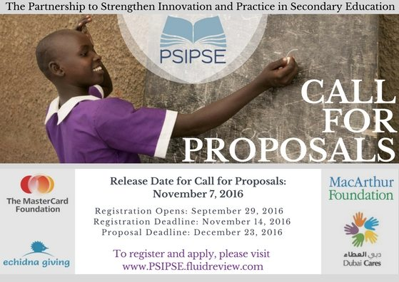 The Partnership to Strengthen Innovation and Practice in Secondary Education: 2016 Call for Proposals