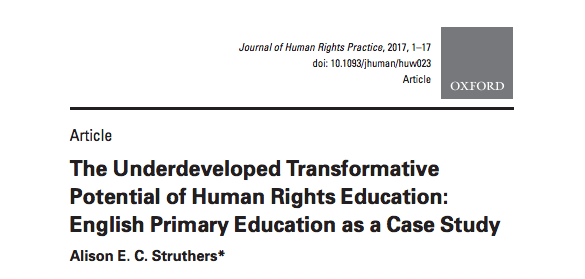 The Underdeveloped Transformative Potential of Human Rights Education: English Primary Education as a Case Study