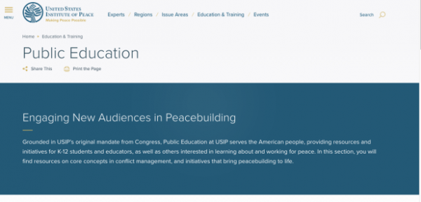Goodbye Global Peacebuilding Center, Hello Public Education: USIP Launches New Educational Site