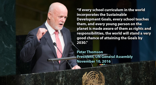 UN General Assembly President calls on universities to integrate teaching of Sustainable Development Goals