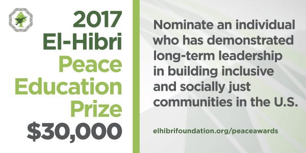 Call for nominations: 2017 El-Hibri Peace Education Prize
